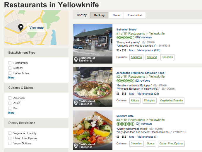 Websites like Trip Advisor enable you to see reviews from friends  as well as by rating